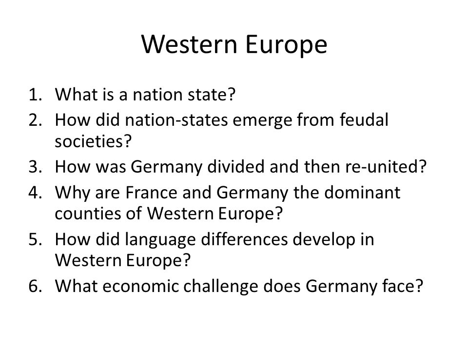 Western Europe What is a nation state