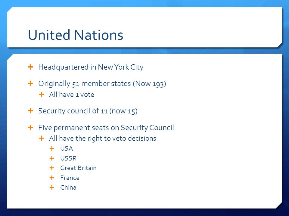 United Nations Headquartered in New York City
