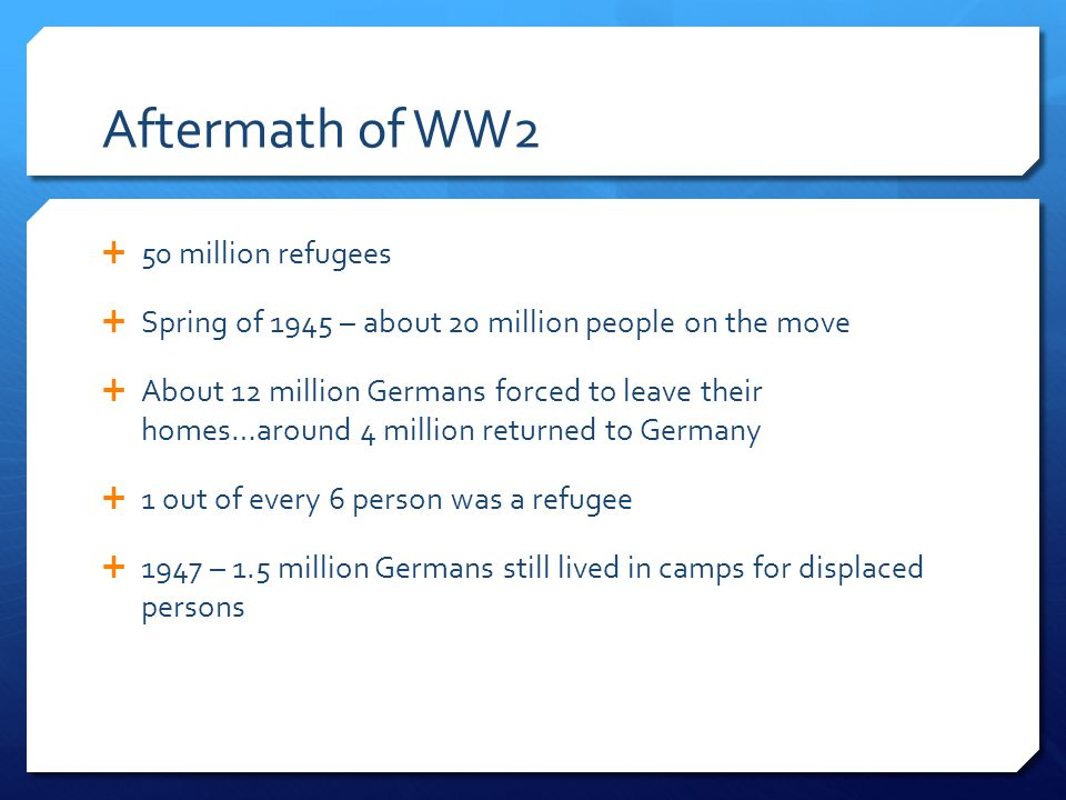 Aftermath of WW2 50 million refugees
