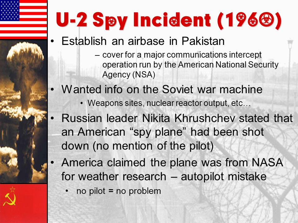 U-2 Spy Incident (1960) Establish an airbase in Pakistan