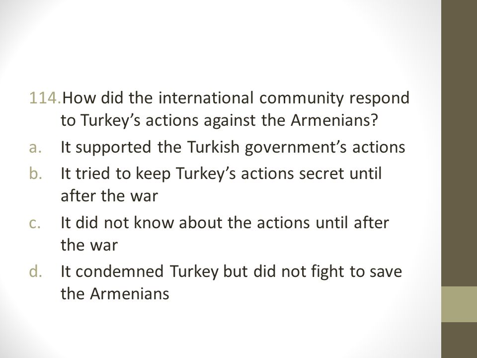 How did the international community respond to Turkey's actions against the Armenians