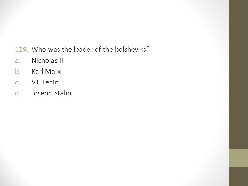 Who was the leader of the bolsheviks
