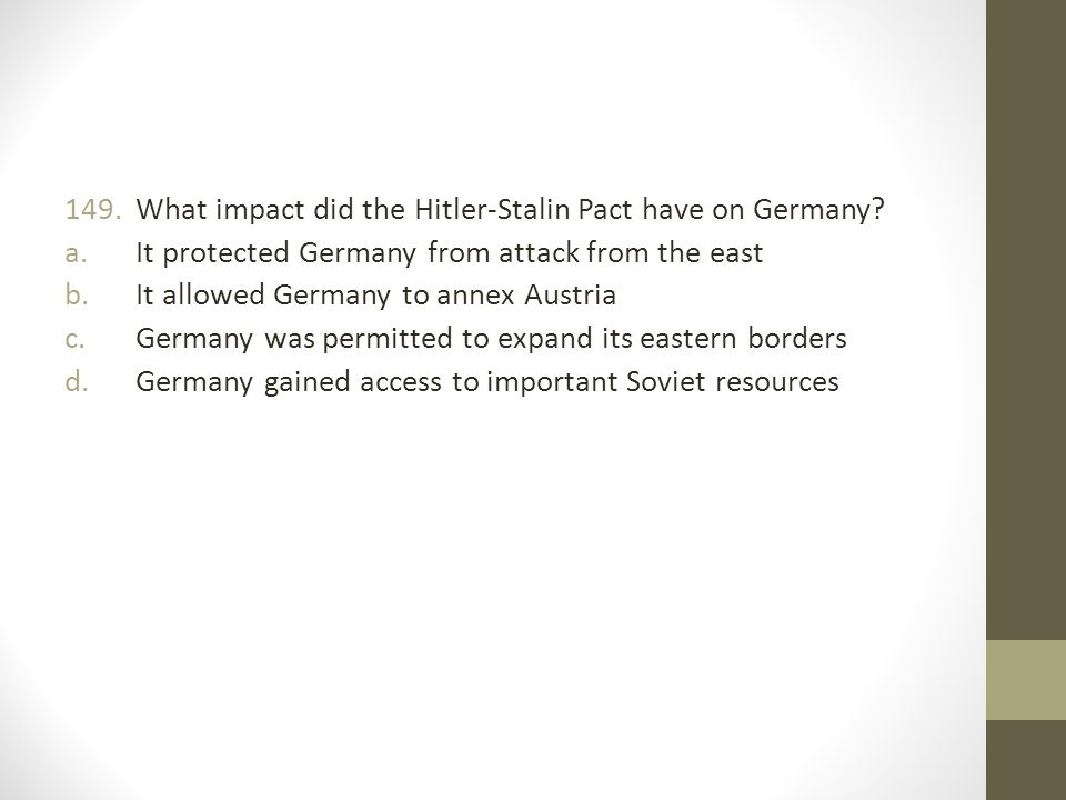 What impact did the Hitler-Stalin Pact have on Germany