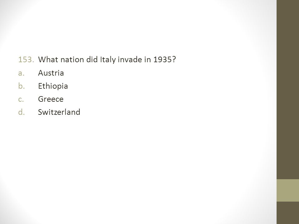 What nation did Italy invade in 1935
