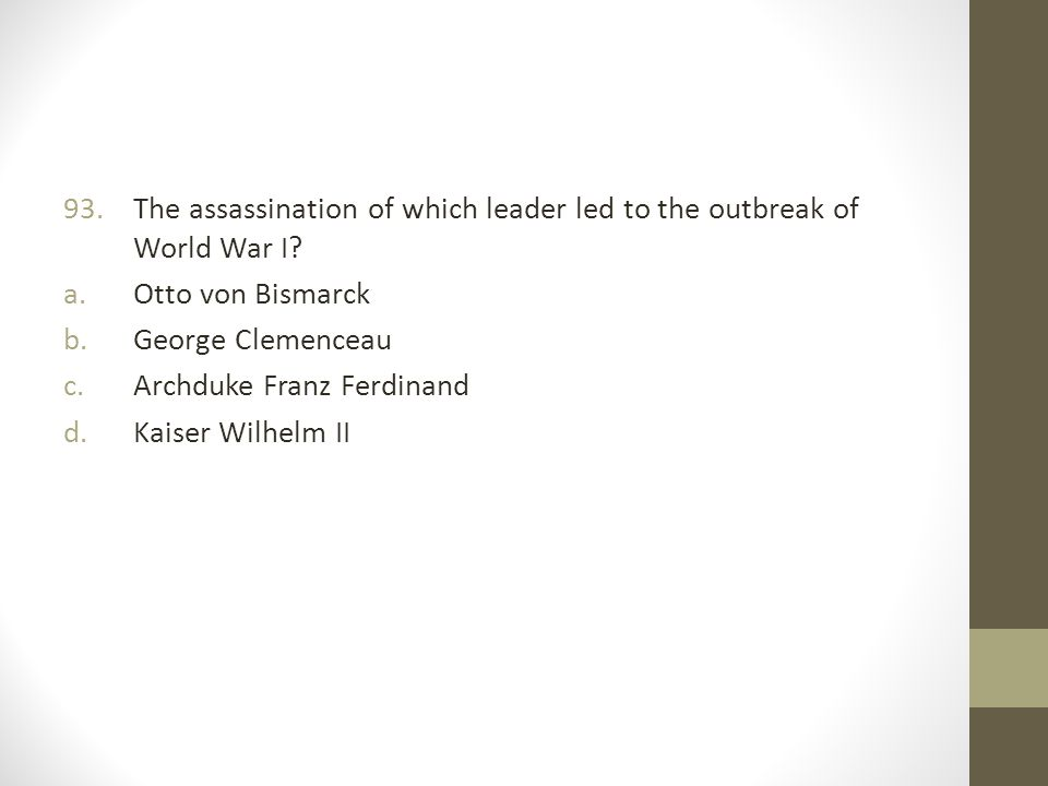 The assassination of which leader led to the outbreak of World War I