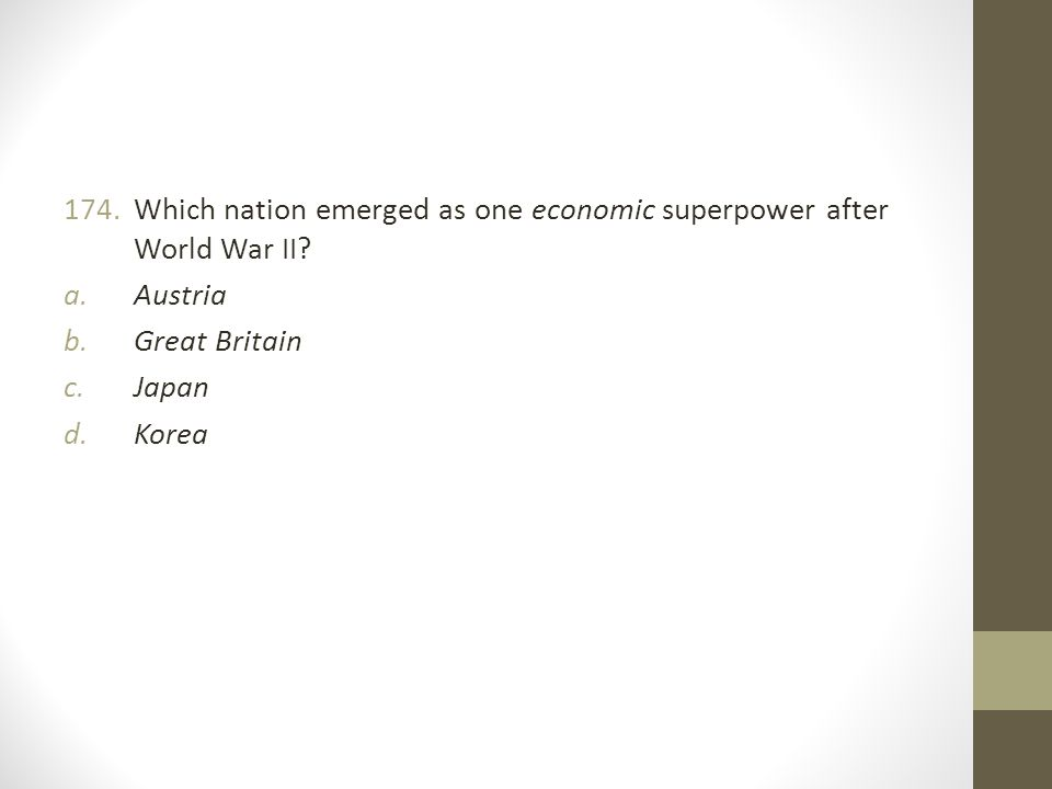 Which nation emerged as one economic superpower after World War II