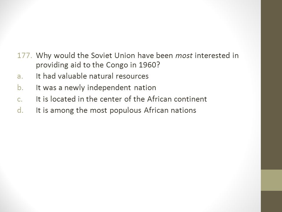 Why would the Soviet Union have been most interested in providing aid to the Congo in 1960