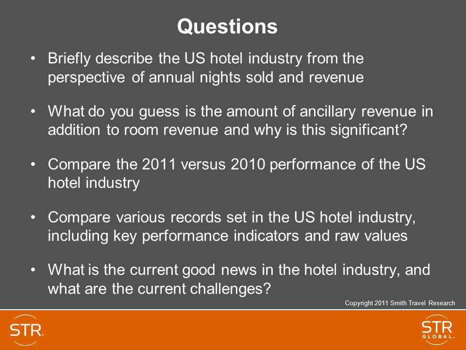 Questions Briefly describe the US hotel industry from the perspective of annual nights sold and revenue.