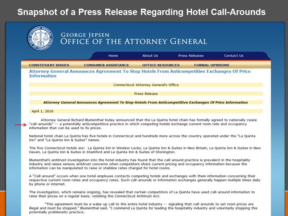 Snapshot of a Press Release Regarding Hotel Call-Arounds