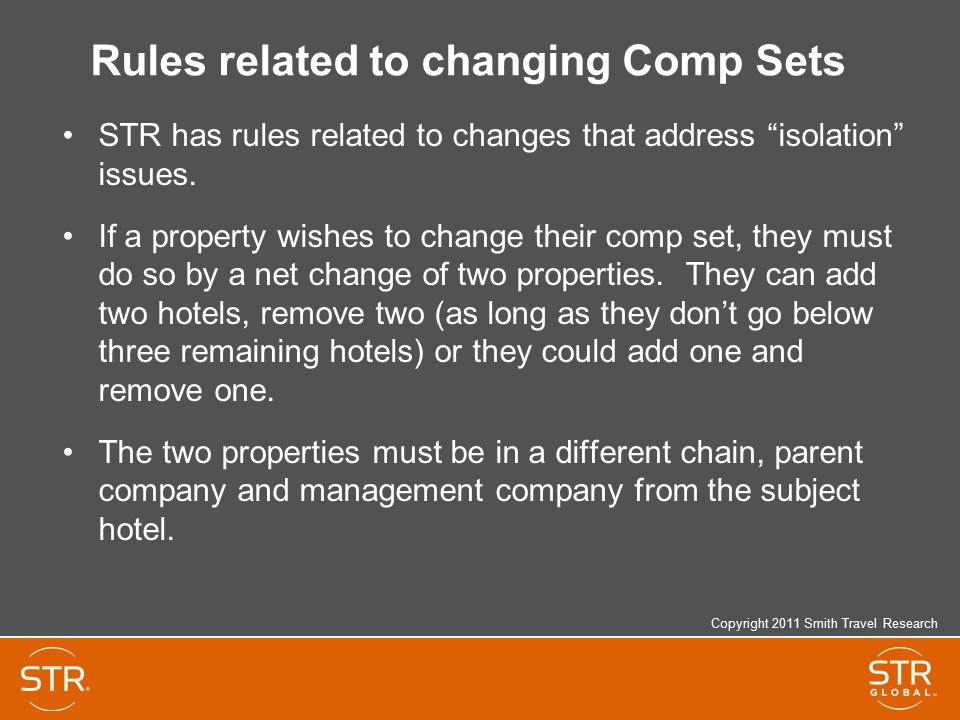 Rules related to changing Comp Sets