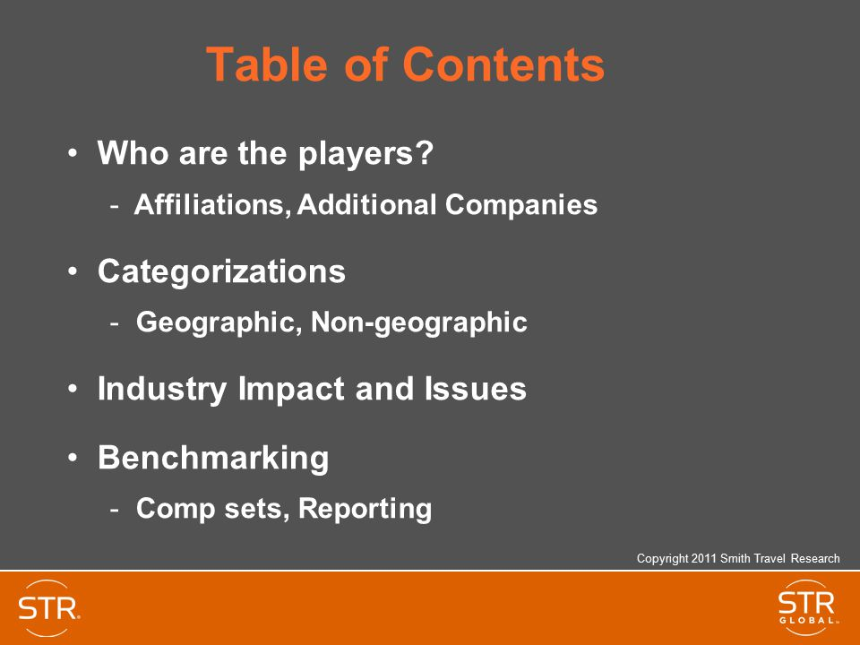 Table of Contents Who are the players Categorizations