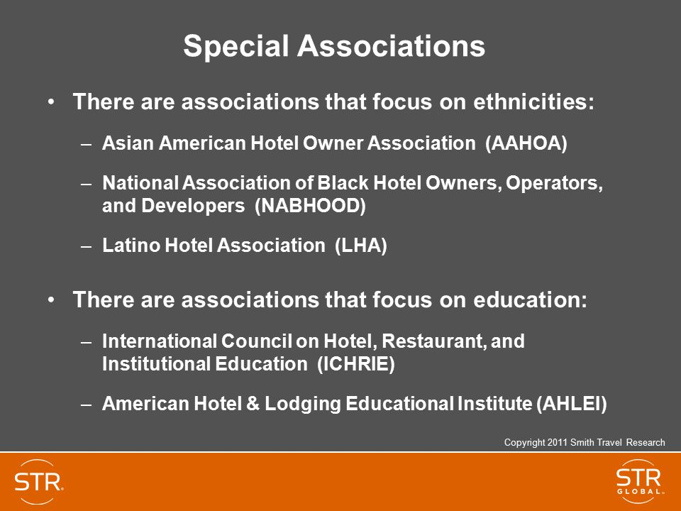 Special Associations There are associations that focus on ethnicities:
