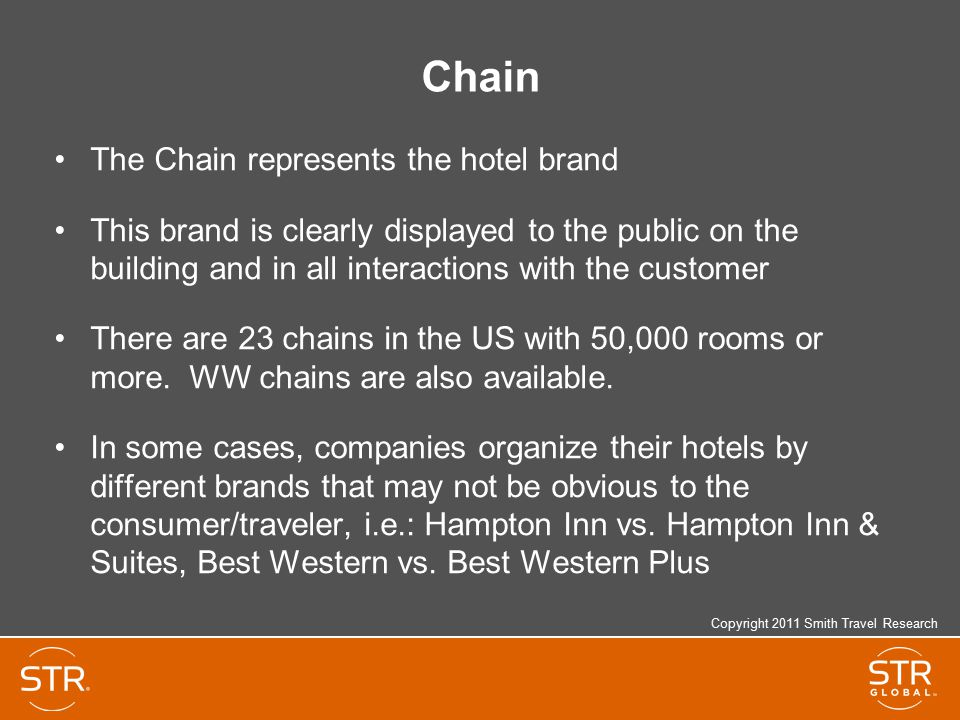 Chain The Chain represents the hotel brand