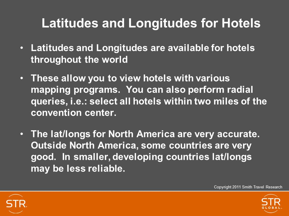 Latitudes and Longitudes for Hotels