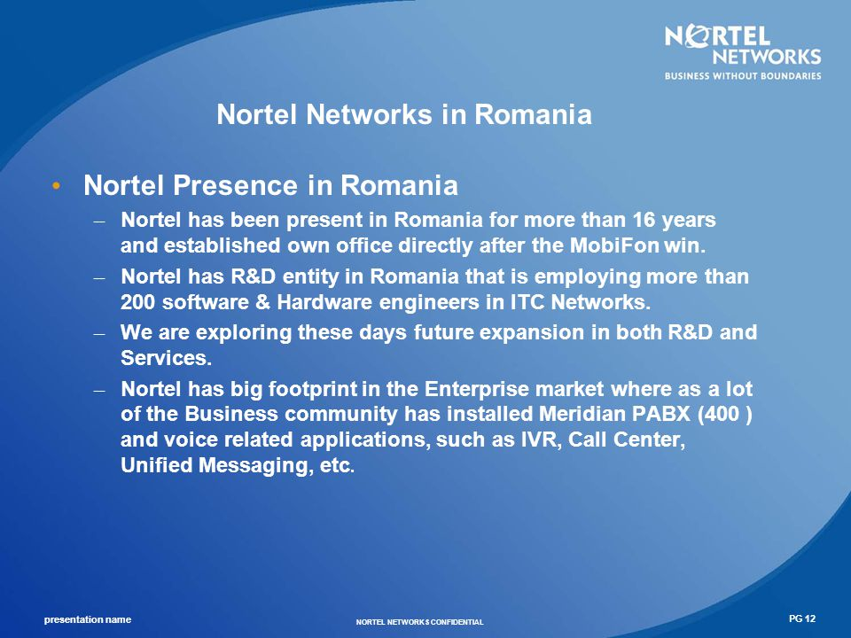 Nortel Networks in Romania