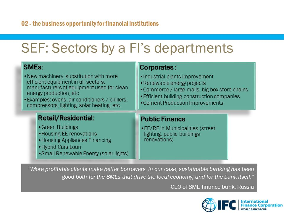 SEF: Sectors by a FI's departments