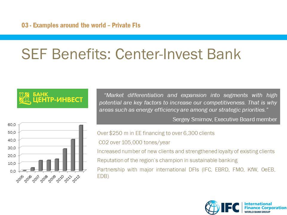 SEF Benefits: Center-Invest Bank