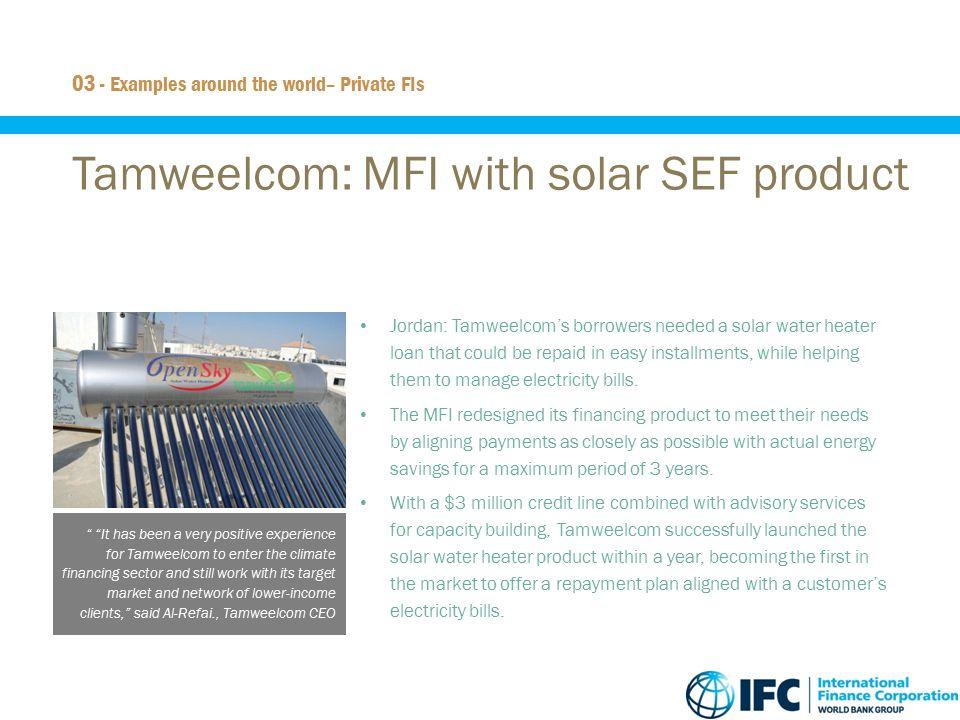 Tamweelcom: MFI with solar SEF product