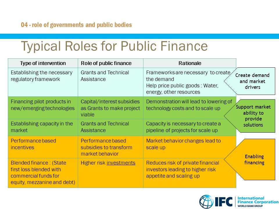 Typical Roles for Public Finance