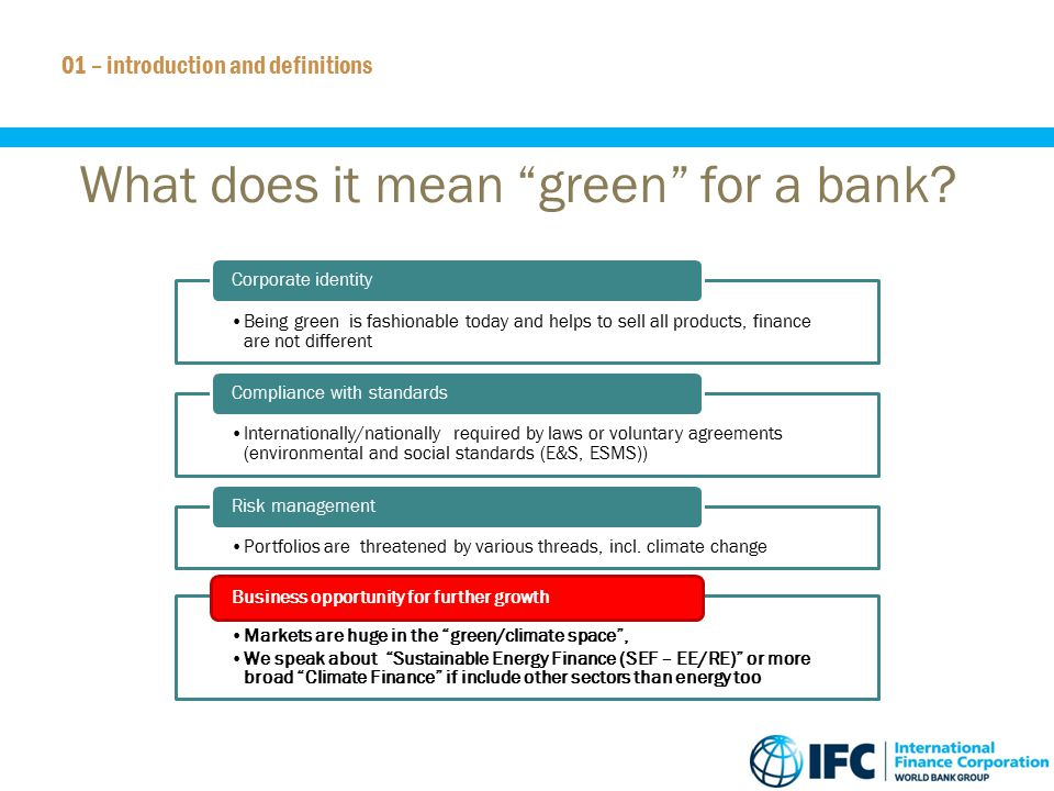 What does it mean green for a bank