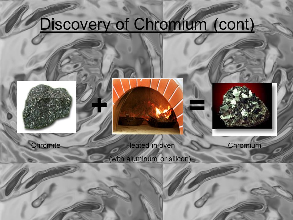 + = Discovery of Chromium (cont) Chromite Heated in oven Chromium