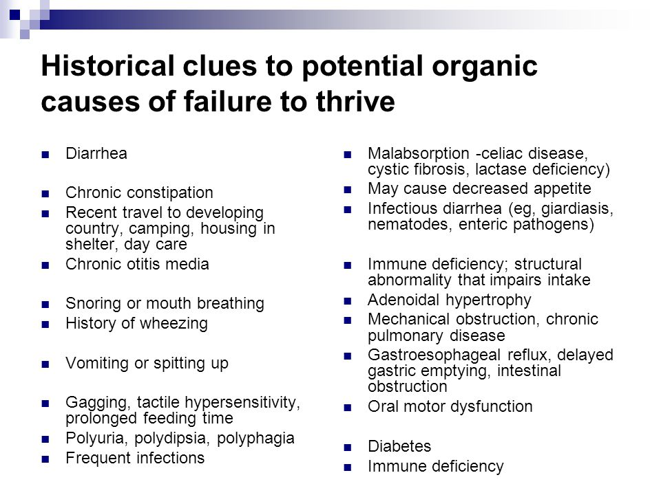 Historical clues to potential organic causes of failure to thrive