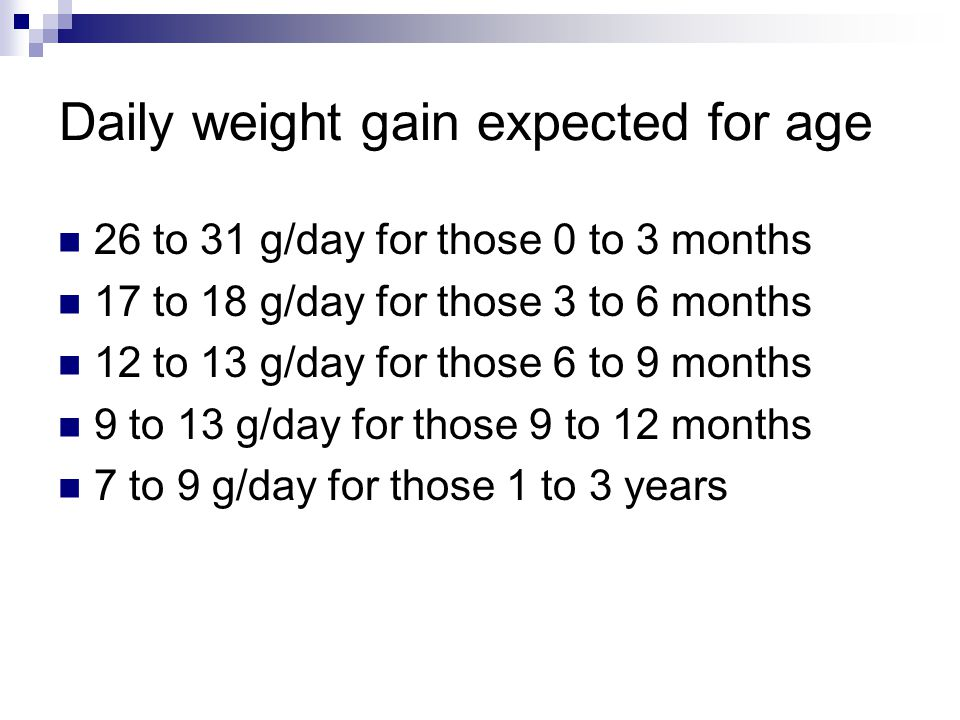 Daily weight gain expected for age