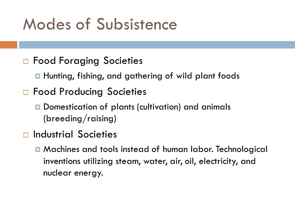 Modes of Subsistence Food Foraging Societies Food Producing Societies