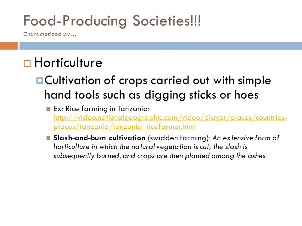 Food-Producing Societies!!! Characterized by…