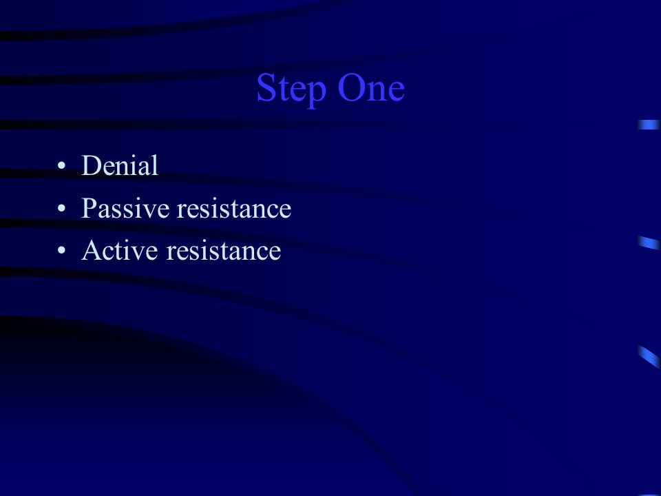 Step One Denial Passive resistance Active resistance
