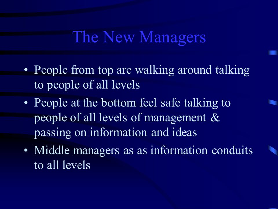 The New Managers People from top are walking around talking to people of all levels.
