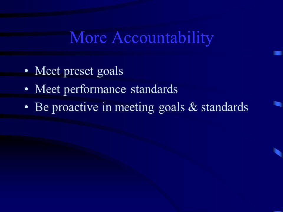 More Accountability Meet preset goals Meet performance standards