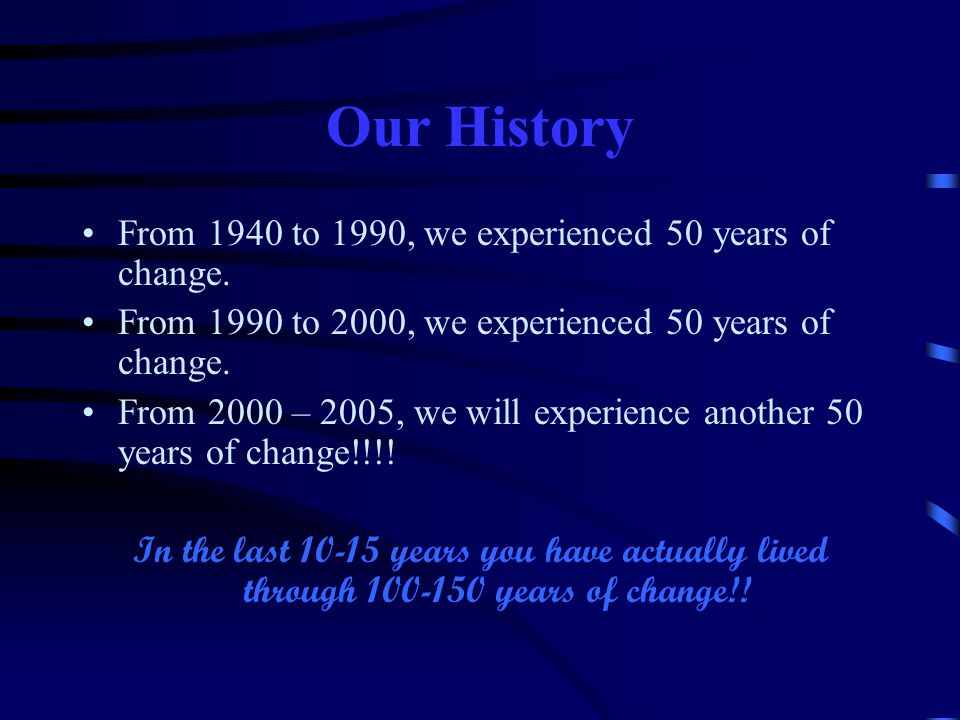 Our History From 1940 to 1990, we experienced 50 years of change.