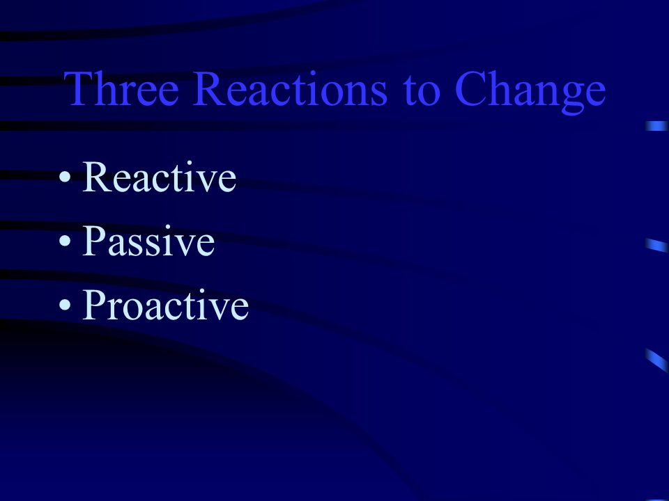 Three Reactions to Change