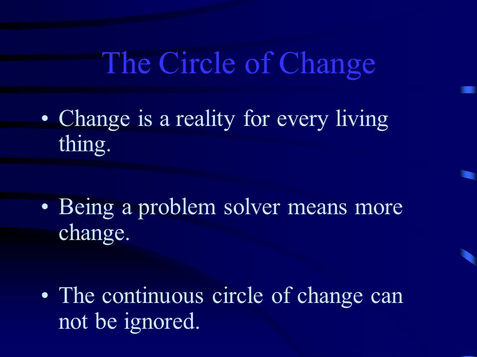 The Circle of Change Change is a reality for every living thing.
