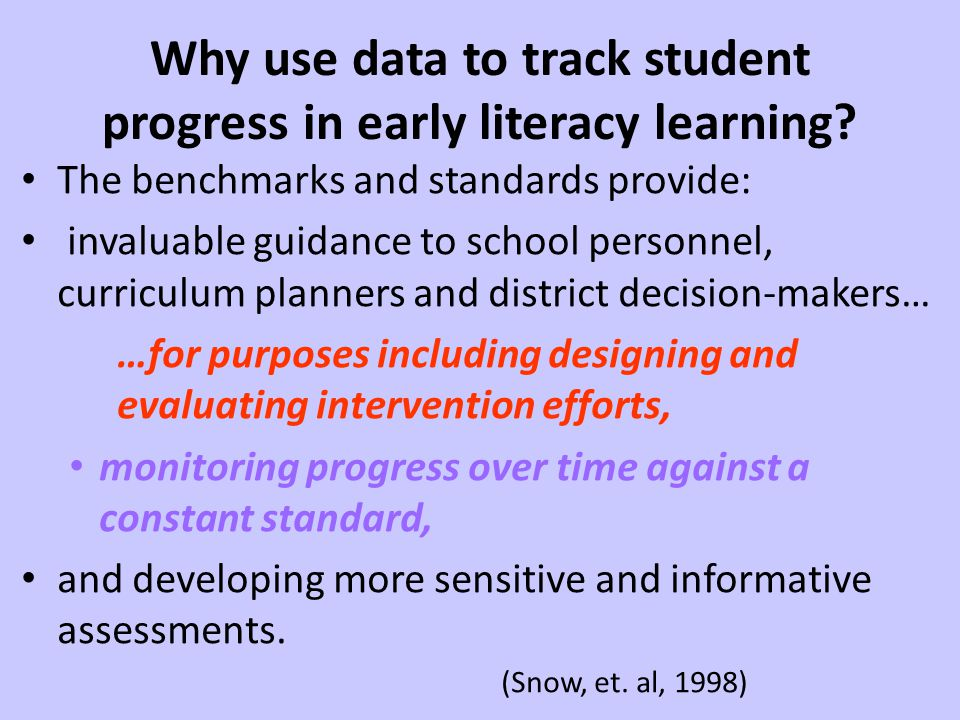 Why use data to track student progress in early literacy learning