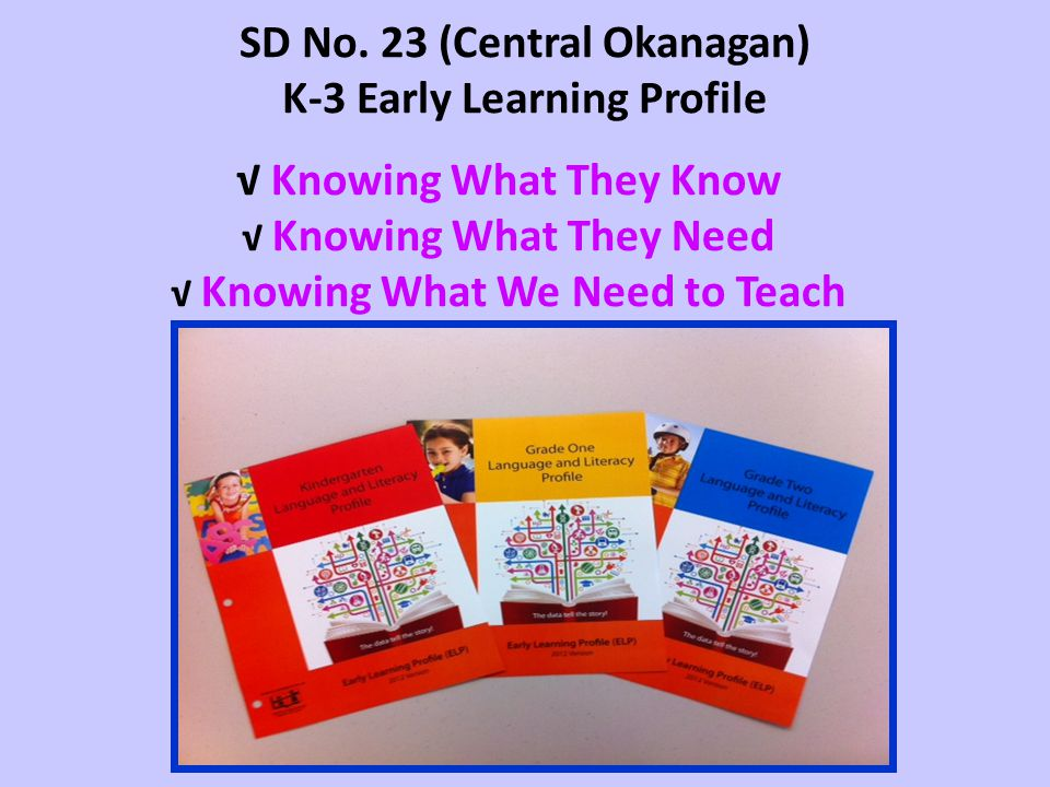 SD No. 23 (Central Okanagan) K-3 Early Learning Profile