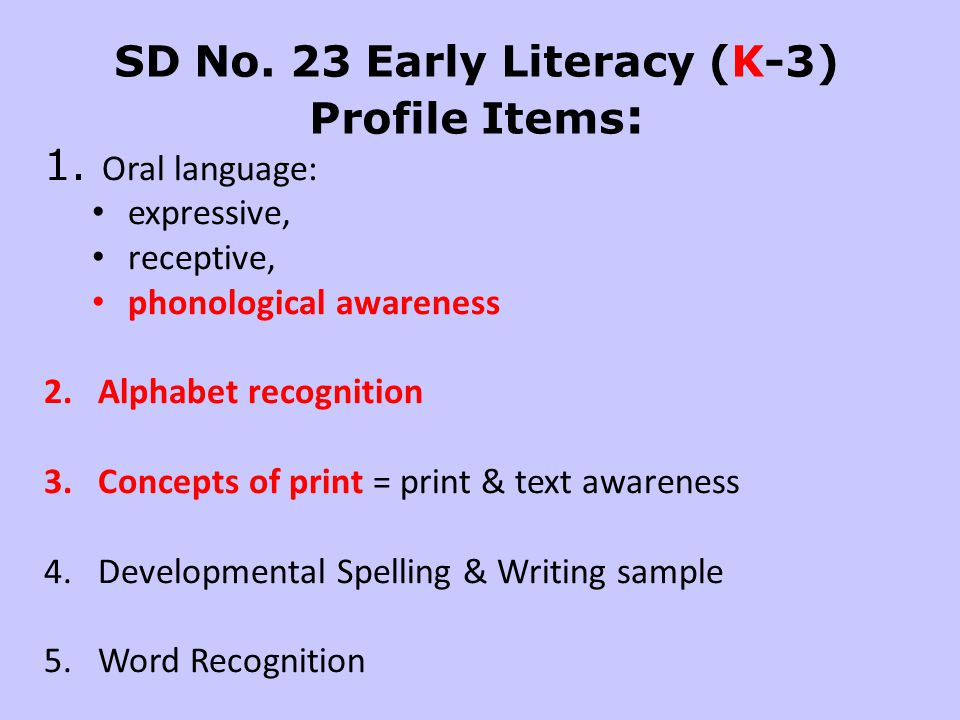 SD No. 23 Early Literacy (K-3) Profile Items: