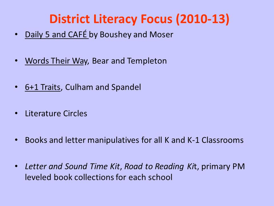 District Literacy Focus (2010-13)