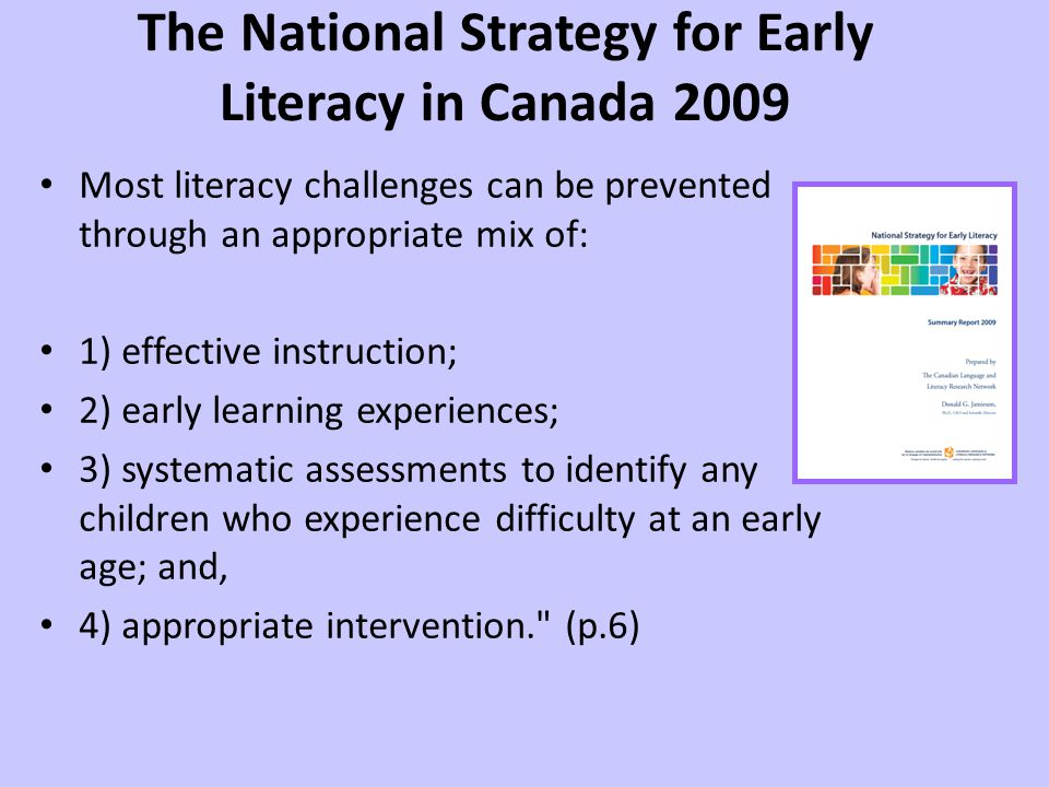 The National Strategy for Early Literacy in Canada 2009