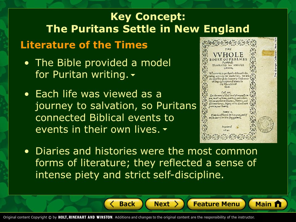 Key Concept: The Puritans Settle in New England