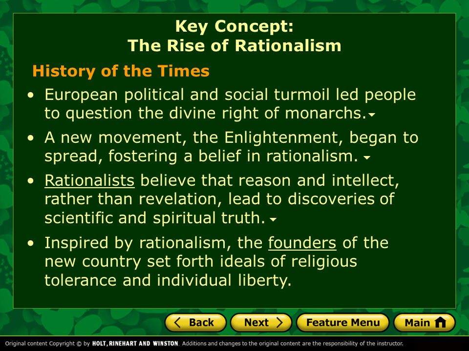 Key Concept: The Rise of Rationalism