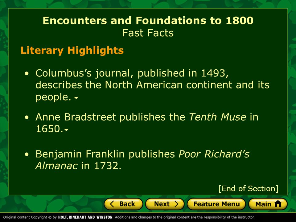 Encounters and Foundations to 1800 Fast Facts