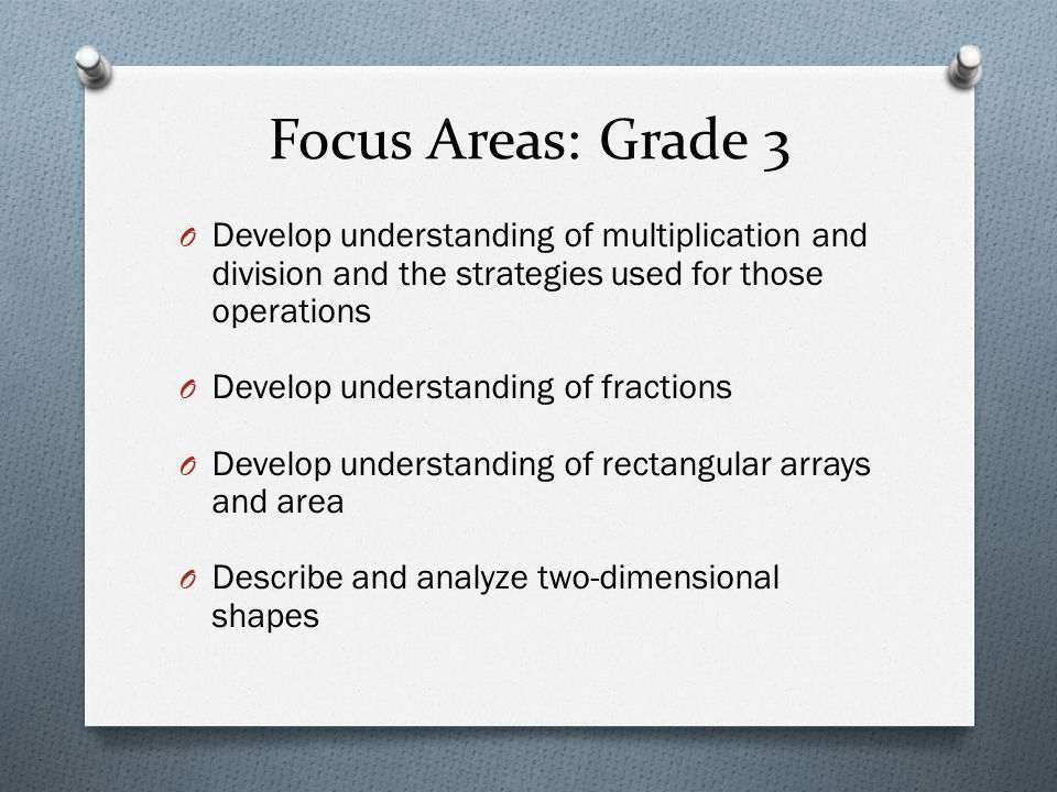 Focus Areas: Grade 3 Develop understanding of multiplication and division and the strategies used for those operations.