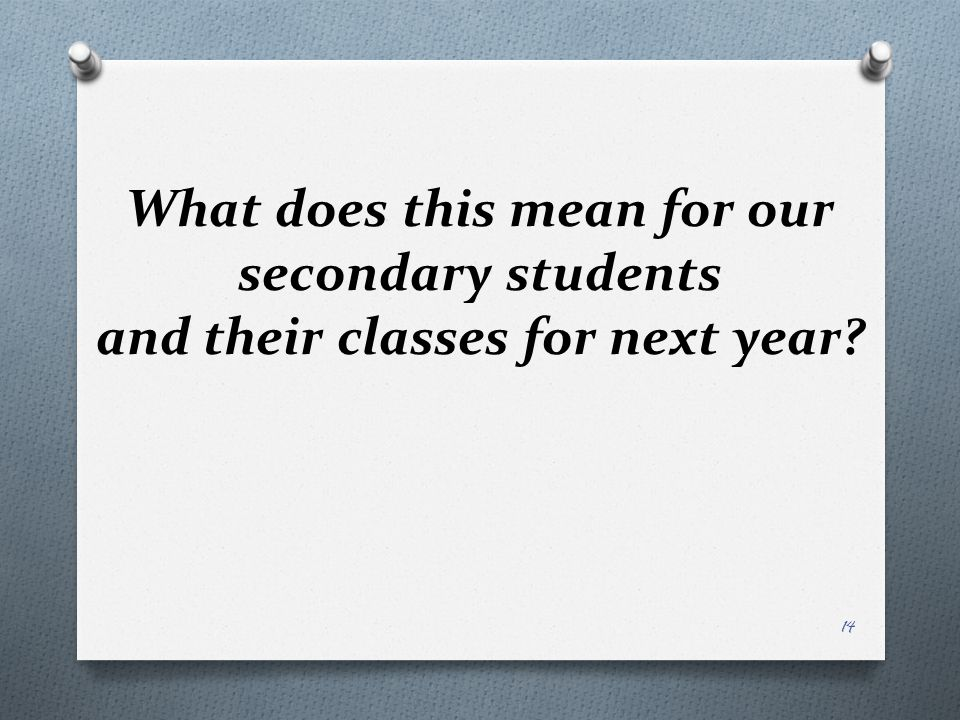 What does this mean for our secondary students and their classes for next year