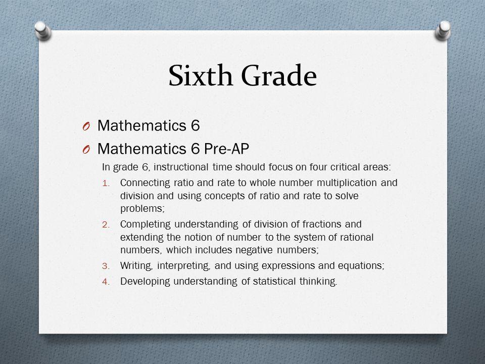 Sixth Grade Mathematics 6 Mathematics 6 Pre-AP