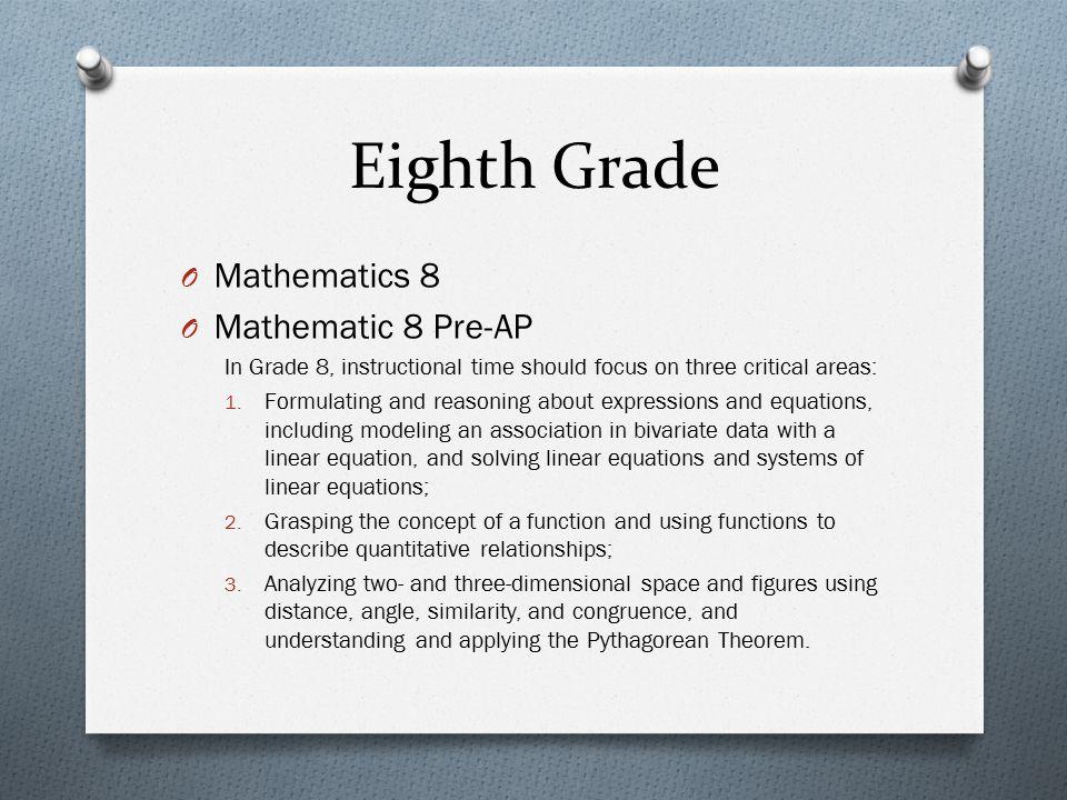 Eighth Grade Mathematics 8 Mathematic 8 Pre-AP