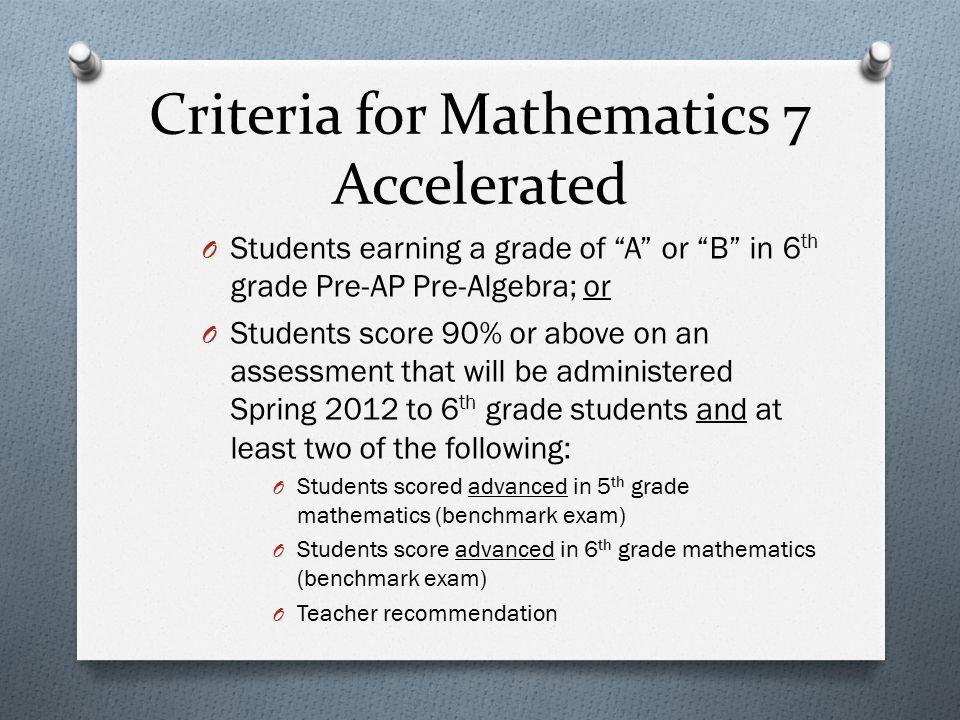 Criteria for Mathematics 7 Accelerated