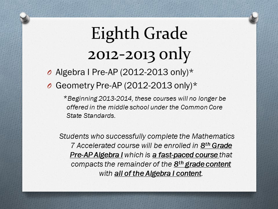 Eighth Grade 2012-2013 only Algebra I Pre-AP (2012-2013 only)*