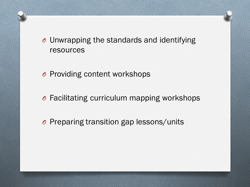 Unwrapping the standards and identifying resources